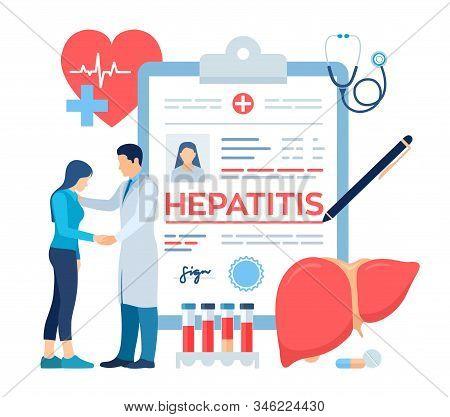 Medical Diagnosis - Hepatitis. Concept Of Hepatitis A, B, C, D, Cirrhosis, World Hepatitis Day. Doct