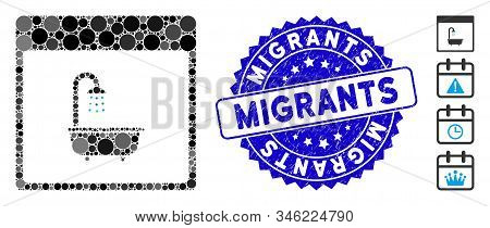 Mosaic Shower Bath Calendar Page Icon And Corroded Stamp Seal With Migrants Text. Mosaic Vector Is C