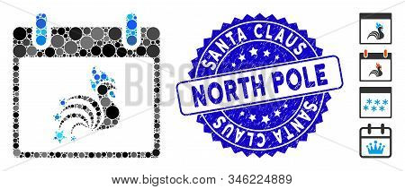 Mosaic Rooster Fireworks Calendar Day Icon And Distressed Stamp Seal With Santa Claus North Pole Tex
