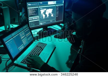Internet Fraud, Darknet, Data Thiefs, Cybercrime Concept. Hacker Attack On Government Server. Danger