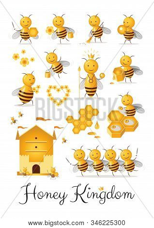 Honey Kingdom Bee Family Beekeeping Castes Funny Happy Characters Collection
