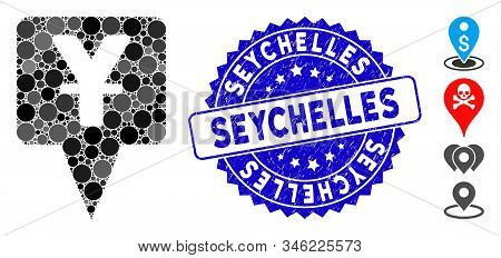 Mosaic Yuan Map Pointer Icon And Rubber Stamp Seal With Seychelles Text. Mosaic Vector Is Created Fr
