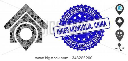 Mosaic Realty Location Icon And Rubber Stamp Seal With Inner Mongolia, China Caption. Mosaic Vector