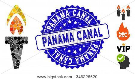 Mosaic Torch Icon And Corroded Stamp Seal With Panama Canal Caption. Mosaic Vector Is Composed With