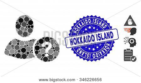 Mosaic Question Icon And Rubber Stamp Watermark With Hokkaido Island Phrase. Mosaic Vector Is Design