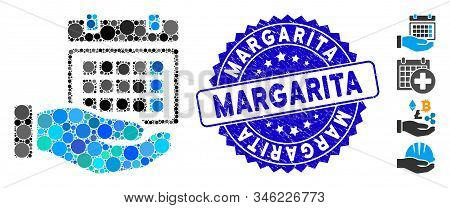 Mosaic Service Timetable Icon And Rubber Stamp Watermark With Margarita Phrase. Mosaic Vector Is For