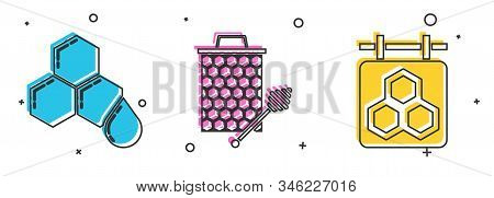 Set Honeycomb, Honeycomb With Honey Dipper Stickicon And Hanging Sign With Honeycomb Icon. Vector