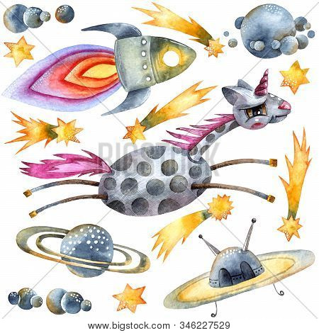 Watercolor Illustration Of Unicorn And Space Objects: Planets, Rocket, Ufo, Stars And Comets On Whit