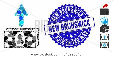 Mosaic Spend Banknotes Icon And Grunge Stamp Seal With New Brunswick Caption. Mosaic Vector Is Forme