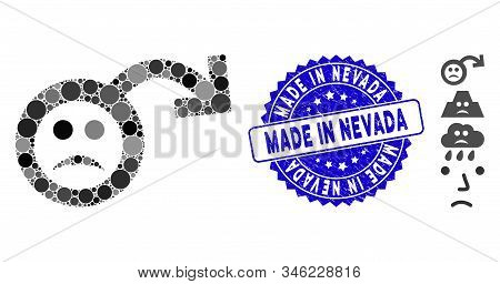 Mosaic Sad Impotence Icon And Rubber Stamp Watermark With Made In Nevada Phrase. Mosaic Vector Is De