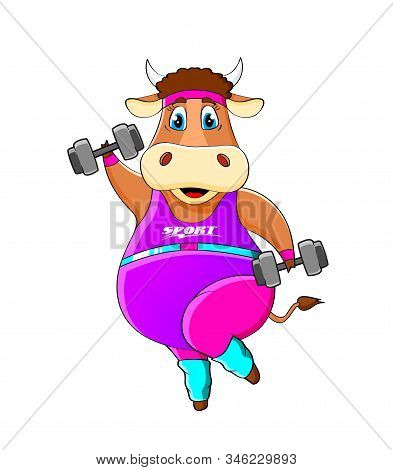 Year Of The Bull Illustration. Funny Cow. Cheerful Bull With Dumbbells Is Engaged In Fitness. Bull Z