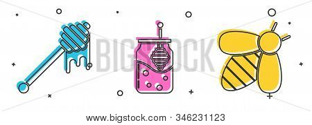 Set Honey Dipper Stick With Dripping Honey, Jar Of Honey And Honey Dipper Stick And Bee Icon. Vector