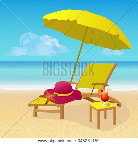 Chaise Lounge With Umbrella On Idyllic Tropical Sandy Beach. Seaside Landscape Background. Summer Ho