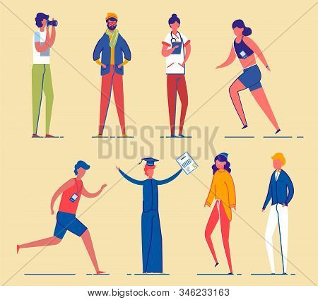 Men And Women Cartoon Characters Set. Different Age And Gender Personages - Students, Sportsmen And