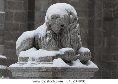 Snowed Covered Stone Lion Sculpture At The Cathedral Of Avila