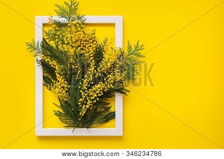 Mimosa Flowers And Green Branches  On Yellow Pattern Texture Of Crumpled Paper With White Photo Fram