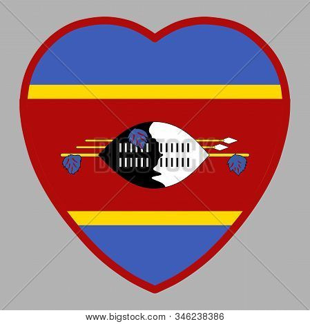 Swaziland Kingdom Of Eswatini Flag In Heart Shape Vector