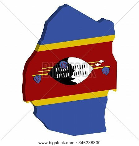 Swaziland Kingdom Of Eswatini Map Flag Vector 3d.