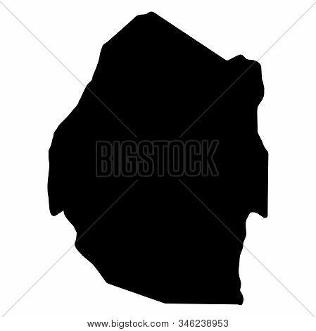 Swaziland Kingdom Of Eswatini Map Silhouette, Vector.