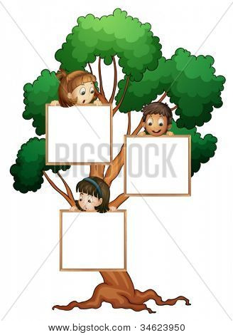 illustration of kids with whiteboard on the tree