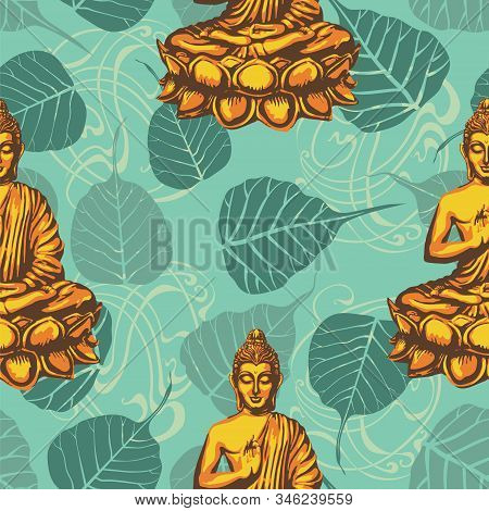 Buddha Sits In The Lotus And Blesses Against The Backdrop Of The Leaves Of The Sacred Bodhi Tree. Re