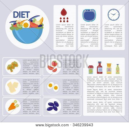 Information Banner On How To Choose Right Diet. Article About Benefits Milk Products, Vegetables And