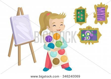Girl Holding Paints, Drawing Holt And Paintings. Vector Illustration