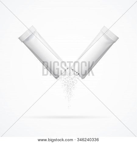 Realistic Detailed 3d Matte Sachet Stick Open Pouring Out Granulated Product Sugar. Vector Illustrat