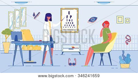 Eye Examination And Optics For Vision Correction - Glasses And Lenses. Reception At Doctor Oculist O