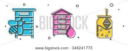 Set Hive For Bees, Hive For Bees And Jar Of Honey And Honey Dipper Stick Icon. Vector