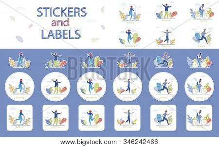 Recreational Pursuit Flat Vector Stickers Set. Outdoor Leisure Activities Labels With Cartoon Charac