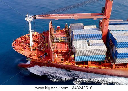 Large Container Ship At Sea, Aerial Image.