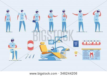 Dentist Man Cartoon Character In Poses And Actions Set With Dental Medical Equipment And Healthy Tee