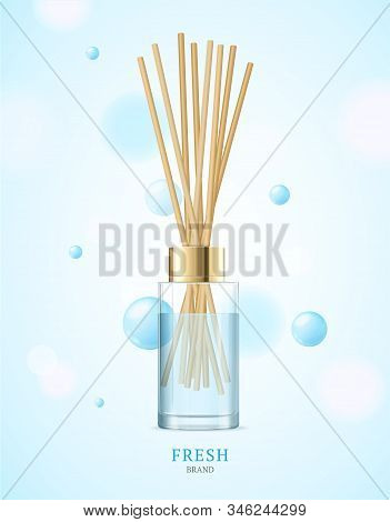 Realistic Detailed 3d Aromatherapy Fresh Concept. Vector Illustration Of Glass Jar With Wooden Aroma