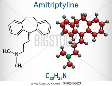 Amitriptyline C20h23n  Molecule. It Is Tricyclic Antidepressant Tca With Analgesic Properties, Is Us