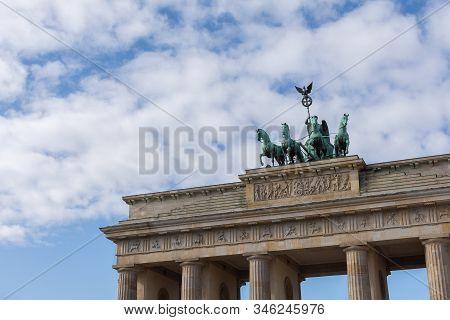 The Brandenburg Gate , Brandenburger Tor On A Square Pariser Platz In The Centre Of Berlin
