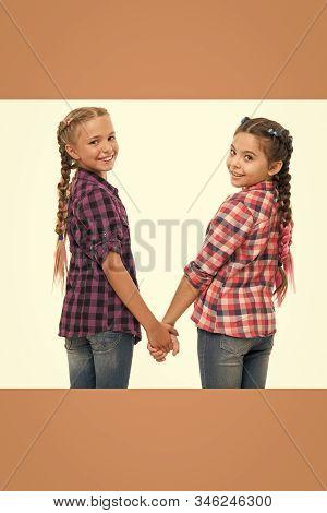 Happiness Is Friendship. Happy Children Hold Hands Isolated On White. Little Girls Enjoy Friendship.