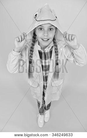 Rainproof Accessory. Schoolgirl Hooded Raincoat Enjoy Rainy Weather. Waterproof Clothes Every Kid Sh