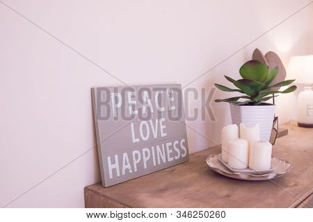 Hand-painted Motivational Wooden Vintage Board With Text Peace, Love, Happiness.motivational And Ins