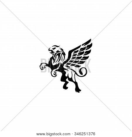 Gryphon Mythical Creature Eagle-headed Lion Beast, Vector Creature With Body Lion And Eagle Head