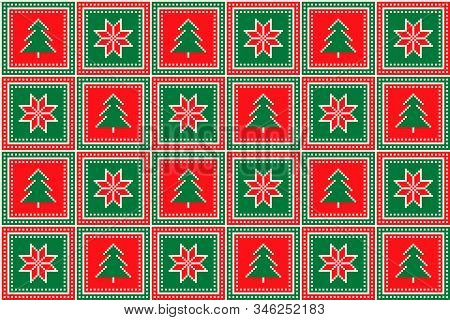 Christmas Pixel Pattern With Christmas Trees And Stars Ornament. Ugly Sweater Party Pattern Design.