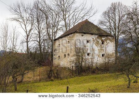 Old Abandoned Medieval Country Mansion, Manor House, In Historic Village Liptovsky Jan ( Liptovský J