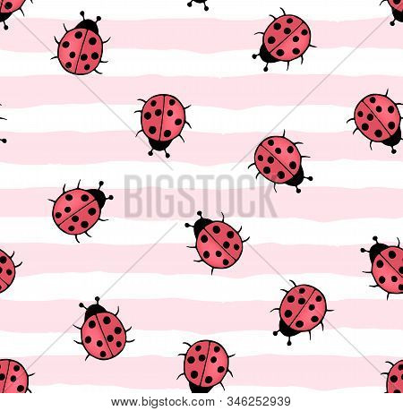 Seamless Pattern With Hand-drawn Ladybugs On A Striped Background In A Children's Cartoon Flat Style