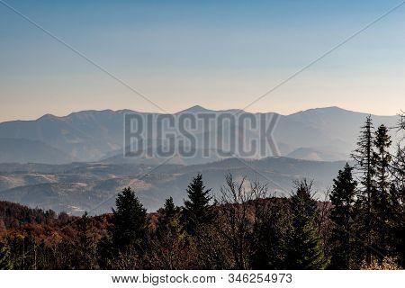Krivanska Mala Fatra Mountain Range From Velka Raca Hill In Kysucke Beskydy Mountains On Slovakian -