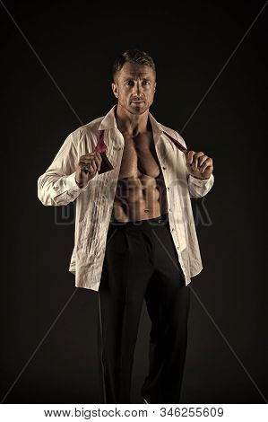 Stylish To Every Detail. Confident Man. Fashion Man Black Background. Sexy Man With Strong Torso Tak