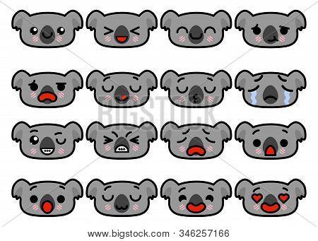 Set Icons Emoji Koalas With Different Emotions Vector Illustration