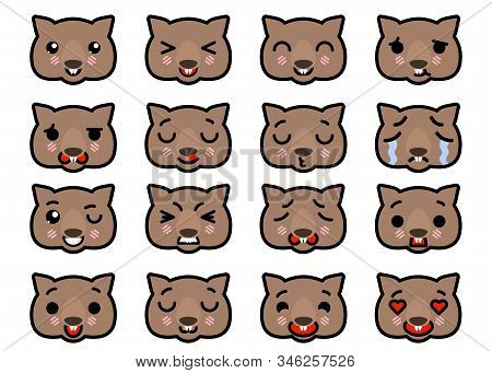Set Icons Emoji Wombats With Different Emotions Vector Illustration