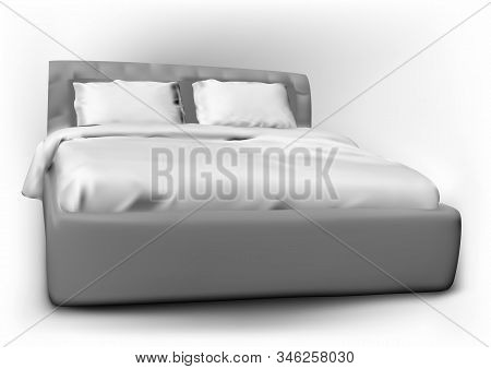 Modern Bed With Pillow And Duvet Cover