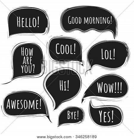 Stylish Black Vector Speech Comic Bubbles With Lined Ragged Edges. Collection Of Message Clouds With