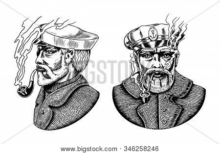 Sea Captain, Marine Old Sailor With Pipe Or Bluejacket, Seaman With Beard Or Men Seafarer. Travel By